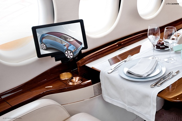 Business jet ineterior with 3D Display