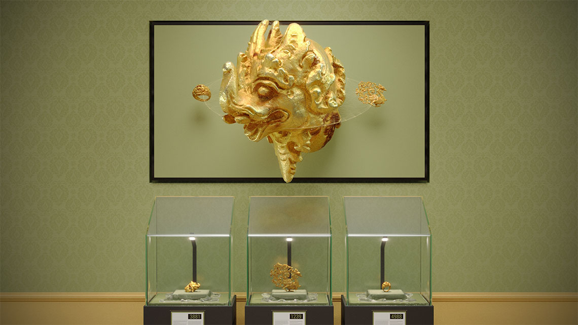 3D display without glasses, which hangs on the wall in a museum and shows virtual gold artifacts in 3D, underneath the display there are three glass cases with the real gold artifacts