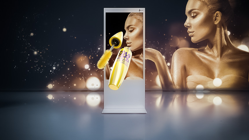 "White ZBOX 65"" stele shows a mascara in 3D without glasses in front of a woman wrapped in gold dust and glitter."