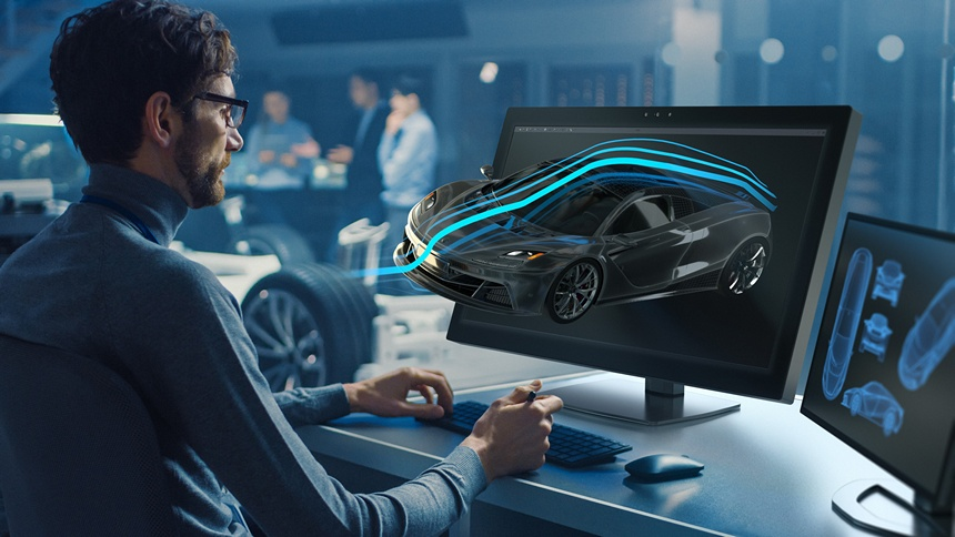 "Designer edits the 3D model of a supercar that protrudes far out of a ZVIEW 28"" display in glasses-free 3D."
