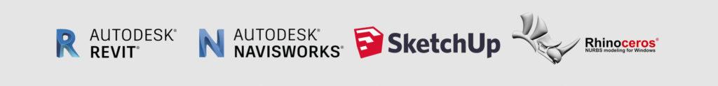 Logos der CAD und BIM Softwareprogramme Autodesk Revit, Autodesk Navisworks, SketchUp und Rhinoceros