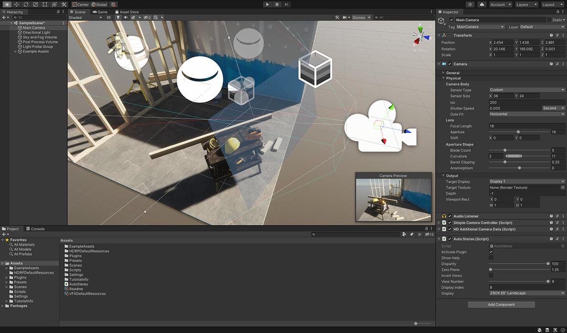 """Screenshot der Software-Oberfläche von unity pro mit Demo-Szene und dem 3D-Kamera-Plugin """"unity CREATOR"""" von United Screens"""