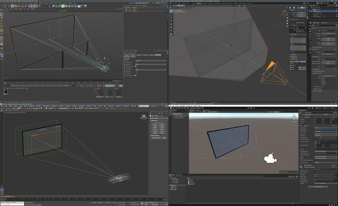 User Interface Ansichten von 3D Animationsprogrammen Cinema4D, Blender, 3dsMax und Unity 3D, welche Stereo-Kamera Rigs zeigen.