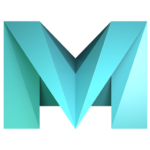 a green blue capital letter M made of triangles and gradients